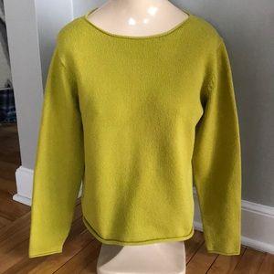 Eileen Fisher chartreuse Italian yarn sweater, Sm